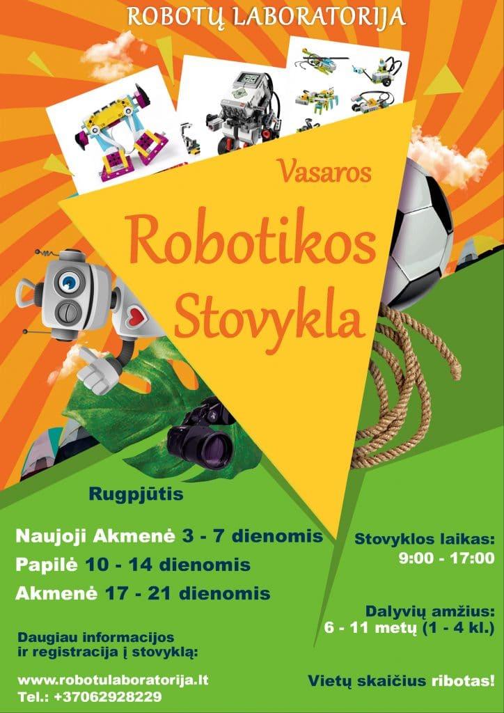 Robotų laboratorija - Vasaros robotikos stovykla. Rugpjūčio 3-21 dienomis Akmenėje, Naujojoje akmenėje, Papilėje.